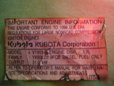 Kubota V1903-e 4 cylinder 42 hp diesel engine 1 9 l